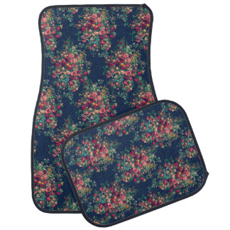 Vintage Roses Classic Blue Color Rich Damask Car Mat