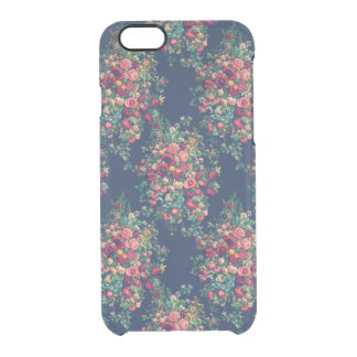 Vintage Roses Classic Blue Color Rich Damask Clear iPhone 6/6S Case