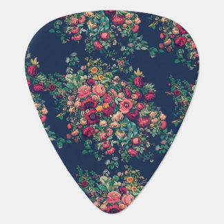Vintage Roses Classic Blue Color Rich Damask Plectrum