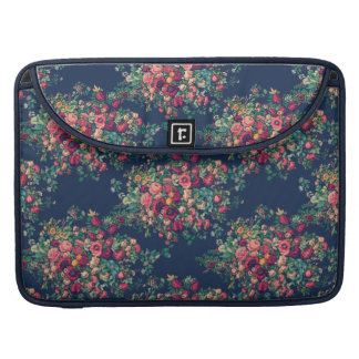 Vintage Roses Classic Blue Color Rich Damask Sleeve For MacBooks