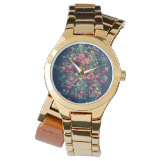 Vintage Roses Classic Blue Color Rich Damask Wristwatch