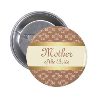Vintage Roses Cream and Gold Mother of the Bride Pinback Button