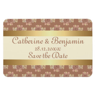Vintage Roses Cream and Gold Wedding Save the Date Rectangular Magnets