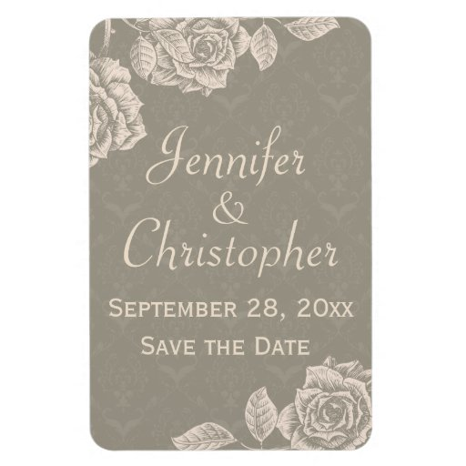 Vintage Roses Cream on Dusty Gray Save the Date Rectangular Magnet