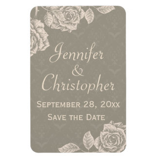 Vintage Roses Cream on Dusty Gray Save the Date Rectangular Photo Magnet