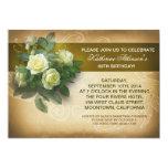 vintage roses elegant birthday invitations