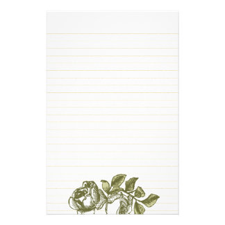 Vintage Roses Etching Gold Lined Stationery