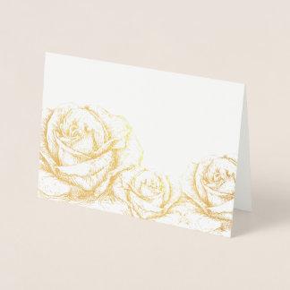 Vintage Roses Floral Gold Decorative Foil Card