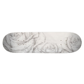 Vintage Roses Floral Grey Decorative 18.1 Cm Old School Skateboard Deck