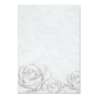 Vintage Roses Floral Grey Decorative 9 Cm X 13 Cm Invitation Card
