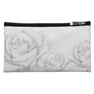Vintage Roses Floral Grey Decorative Cosmetic Bag