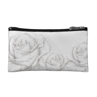 Vintage Roses Floral Grey Decorative Cosmetic Bags