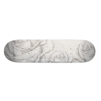 Vintage Roses Floral Grey Decorative Custom Skate Board