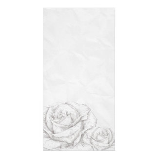 Vintage Roses Floral Grey Decorative Customized Photo Card