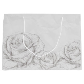 Vintage Roses Floral Grey Decorative Large Gift Bag