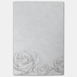 Vintage Roses Floral Grey Decorative Post-it® Notes