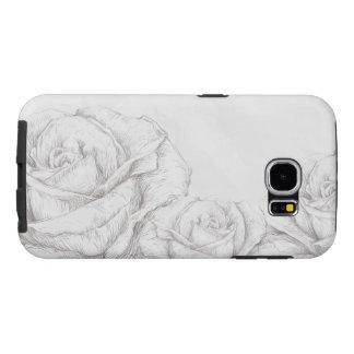 Vintage Roses Floral Grey Decorative Samsung Galaxy S6 Cases