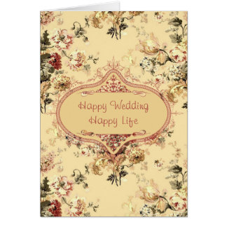Vintage Roses Floral Wedding Congrats Card