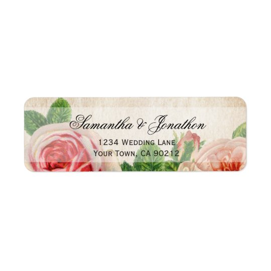Vintage Roses Floral Wedding Return Address Label
