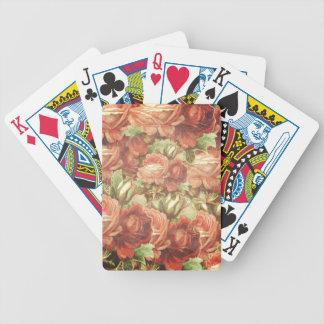 Vintage Roses Grunge Bicycle Playing Cards