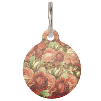 Vintage Roses Grunge Pet Tag