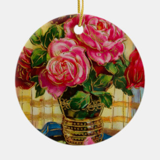 Vintage Roses In A Vase Christmas Tree Ornament
