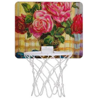 Vintage Roses In A Vase Mini Basketball Hoop