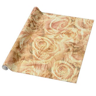 Vintage roses in soft colors wrapping paper