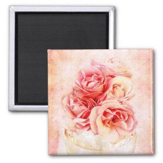 Vintage roses in the vase square magnet
