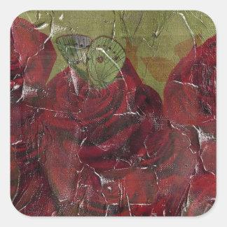 Vintage Roses Oil Grunge Square Sticker