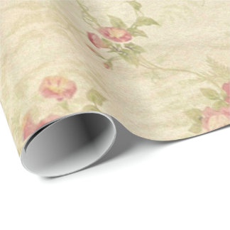 Vintage Roses old distressed fabric pattern Wrapping Paper