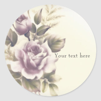 Vintage Roses Old Glamour Custom Party Favor Classic Round Sticker