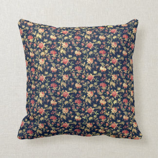 Vintage Roses On A Blue Field Throw Pillow