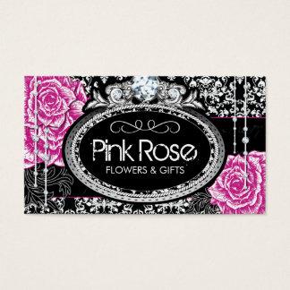 Vintage Roses on Damask Business Cards