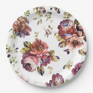 Vintage roses on paper plates