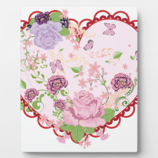 Vintage Roses Ornament and Heart 2 Plaque