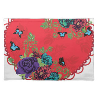 Vintage Roses Ornament and Heart Placemat