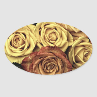 Vintage Roses Oval Sticker
