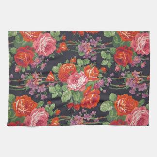 Vintage roses pattern tea towel