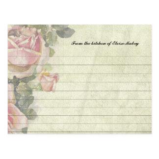 Vintage Roses Personalised Recipe Cards Postcard