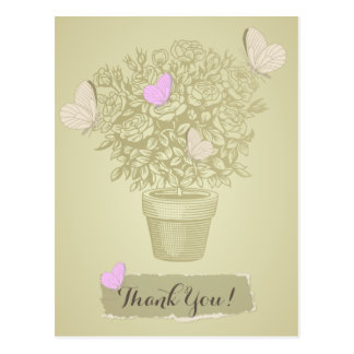 Vintage Roses Pot and Butterflies, Thank You Postcard