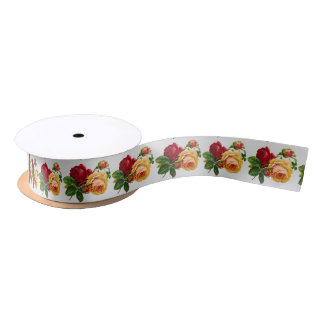 Vintage Roses Red and Yellow Satin Ribbon