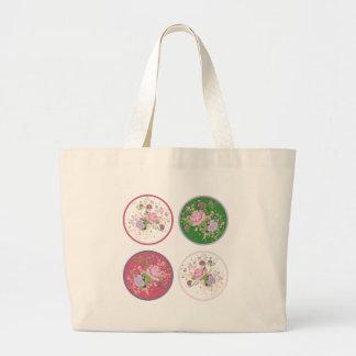 Vintage Roses Round Ornament 2 Large Tote Bag