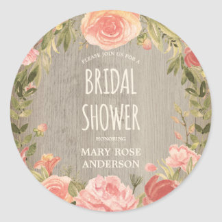 Vintage Roses & Rustic Wood | Floral Bridal Shower Classic Round Sticker