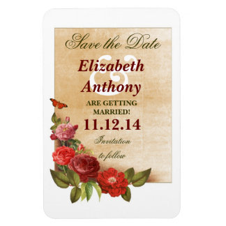 vintage roses save the date magnets