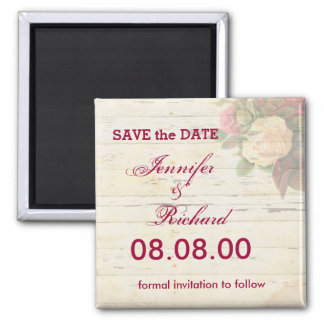 Vintage roses shabby chic custom save the date refrigerator magnet