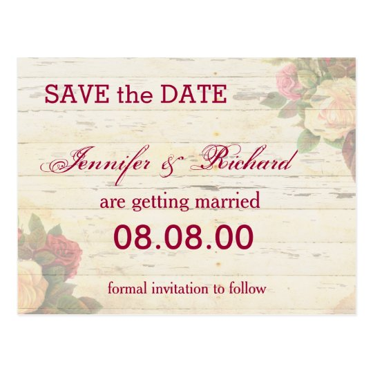 Vintage roses shabby chic custom save the date postcard