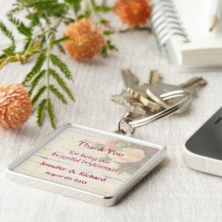 Vintage roses shabby chic custom wedding favor keychains