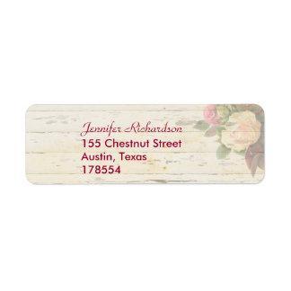 Vintage roses shabby chic custom wedding return address label