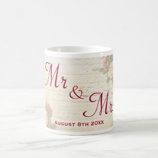 Vintage roses shabby chic custom wedding memento coffee mug